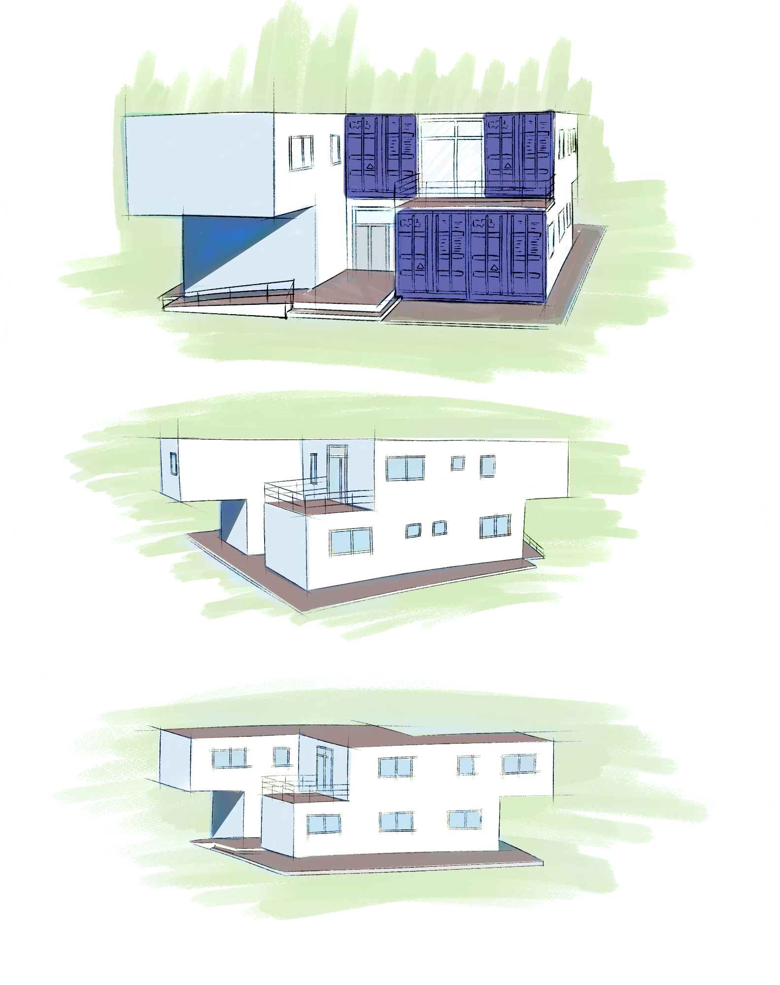 casa fabricada con cuatro contenedores maritimos